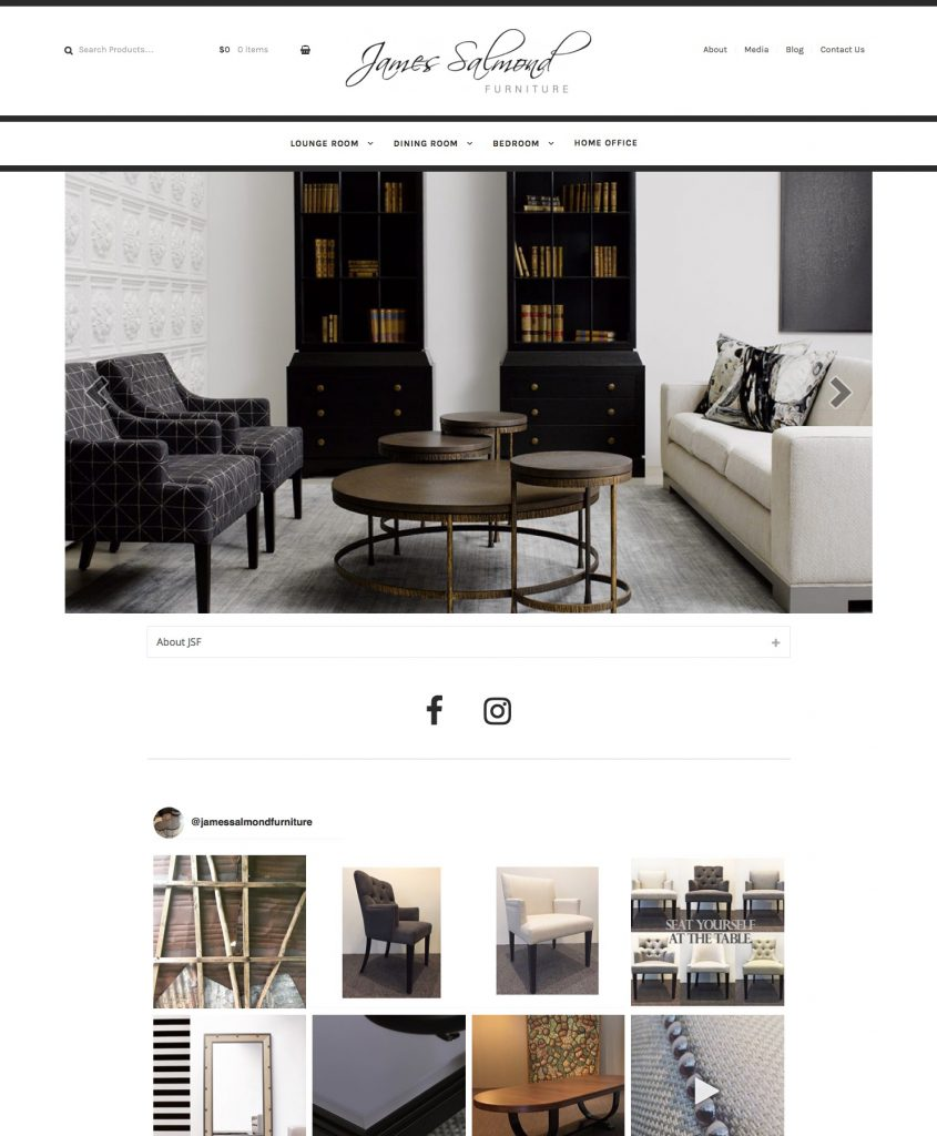 James Salmond Furniture E-Commerce site