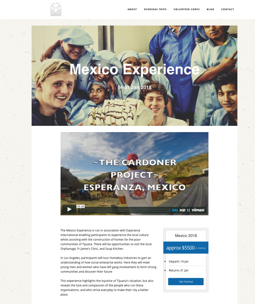 The Two Wolves Abroad - Mexico Experience page