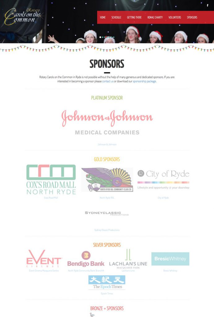 Sponsors for the Carols on the Common charity Christmas carols
